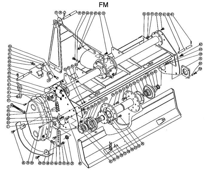 Caroni Mower Parts : Caroni rotocultivator fm series by main body