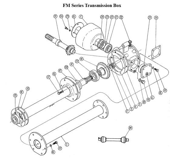 Caroni Mower Parts : Fm series transmission box caroni